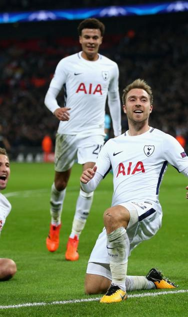 Spurs Celebrate Goal Against Madrid
