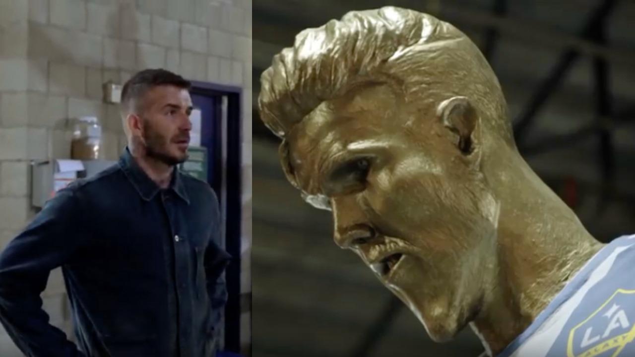 David Beckham statue prank