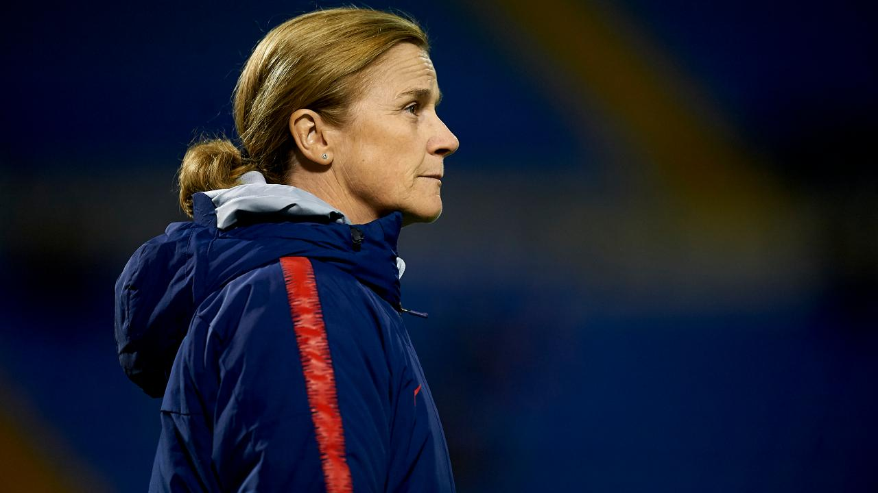 Jill Ellis Looks On As Her Team Competes Against Spain