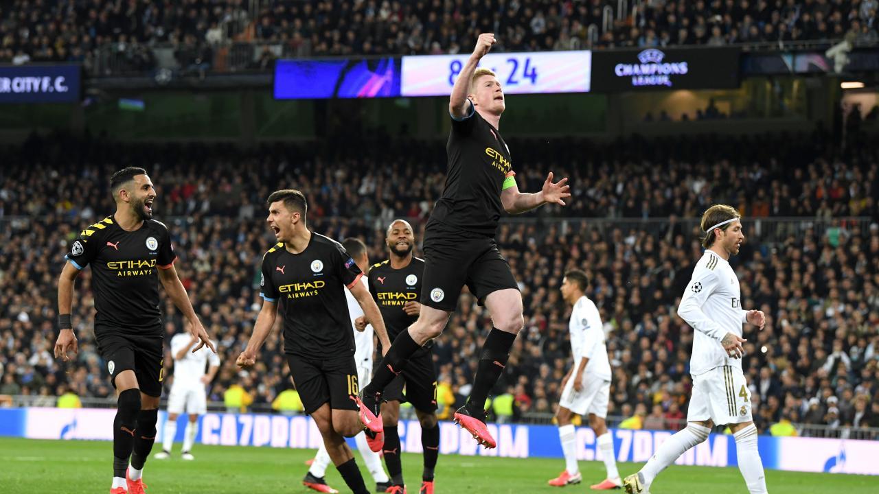 Kevin De Bruyne Celebrates His Goal Vs. Real Madrid