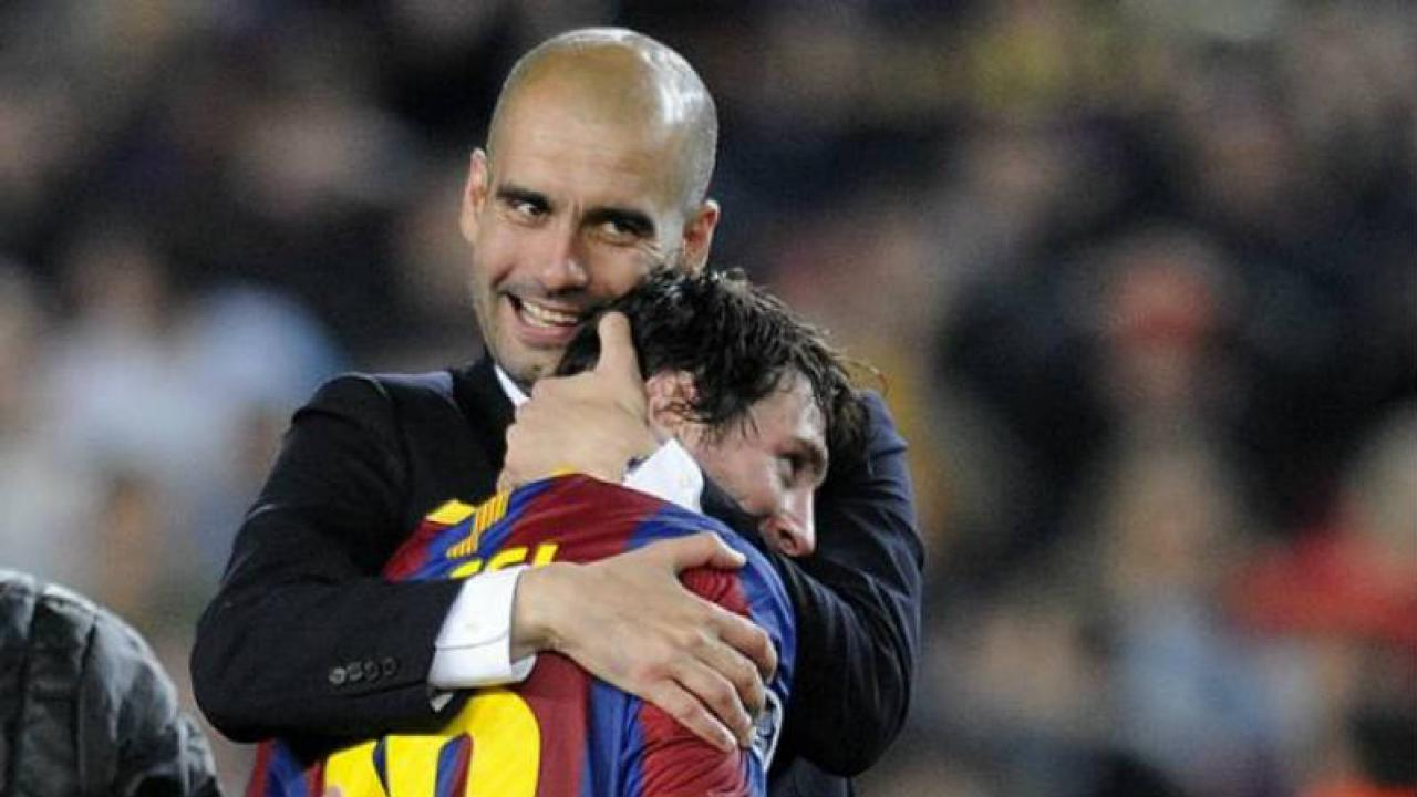 Messi and former manager Pep Guardiola