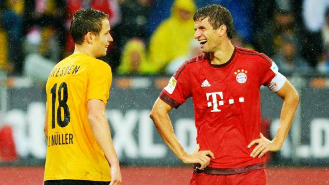 Thomas Muller is all smiles in the friendly.