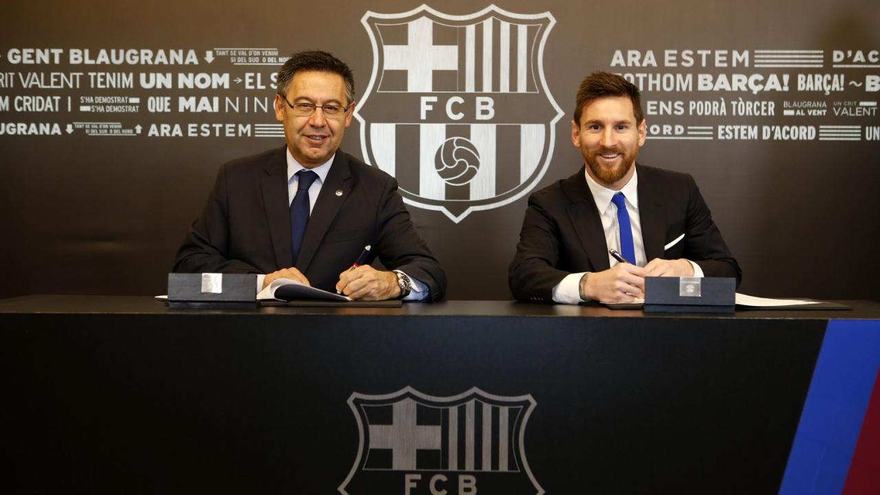 New Lionel Messi Contract - The Argentine star signed a new deal with Barcelona that will keep him at the club until 2021
