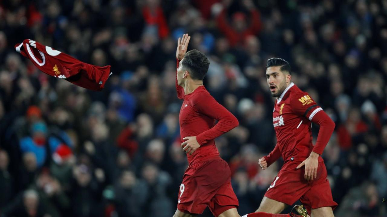 Roberto Firmino celebration Liverpool-Manchester City