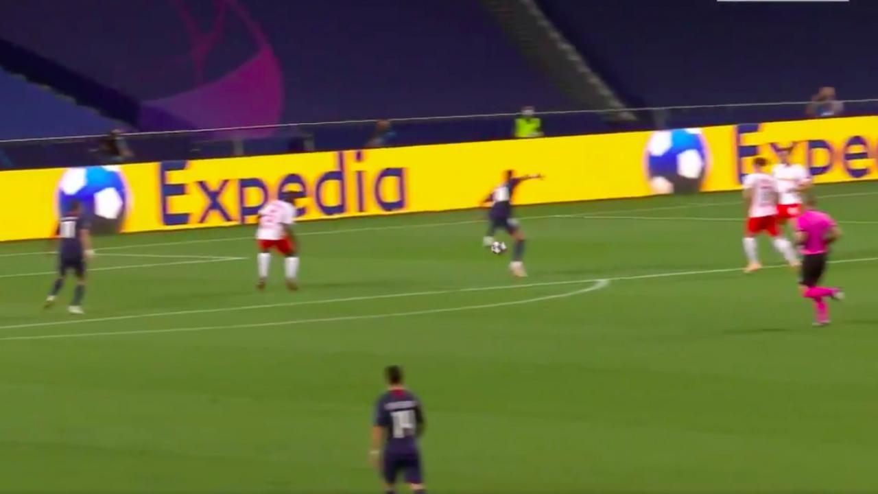 Neymar assist vs Leipzig