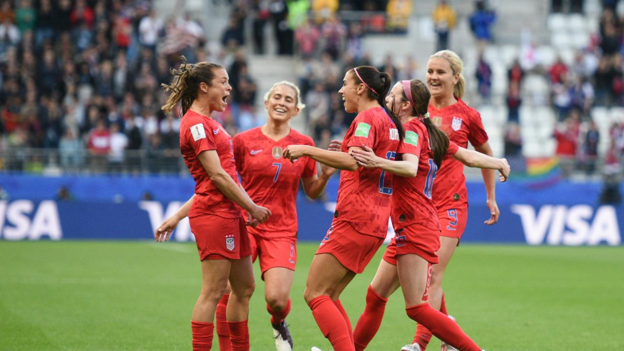 USWNT celebrates goal in 2019 World Cup