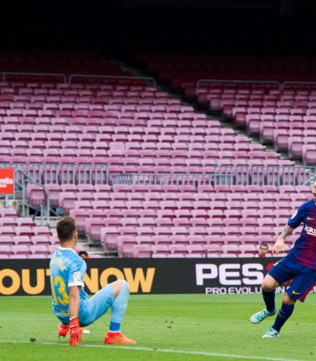 Lionel Messi Barcelona Goal Empty Stadium
