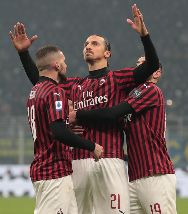 Zlatan Ibrahimovic of AC Milan celebrates his goal