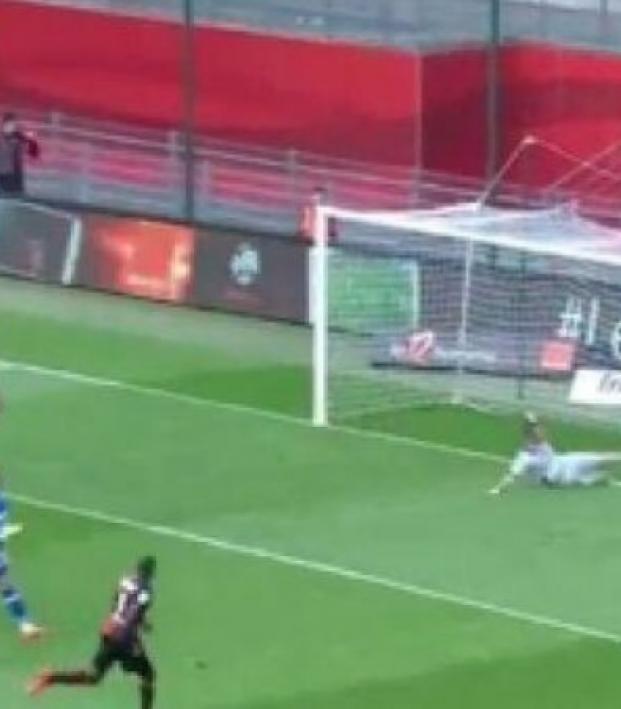 Mathieu Peybernes slides across six yard box to make goal line clearance
