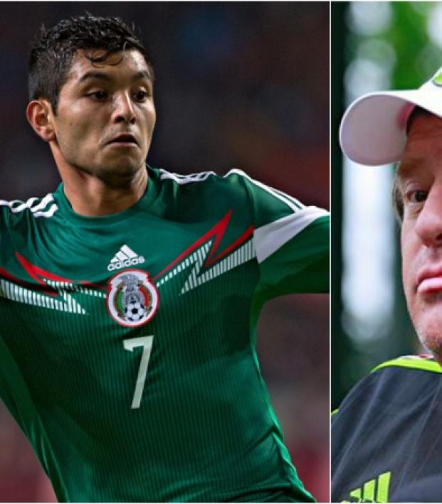 Jesus Corona pictured in an action shot beside a photo of Miguel Herrera at a Press conference.