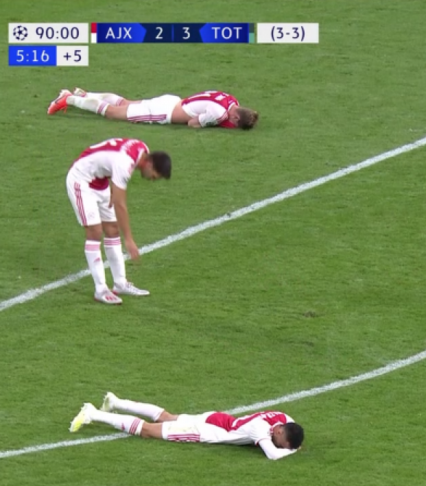 Ajax reaction to defeat