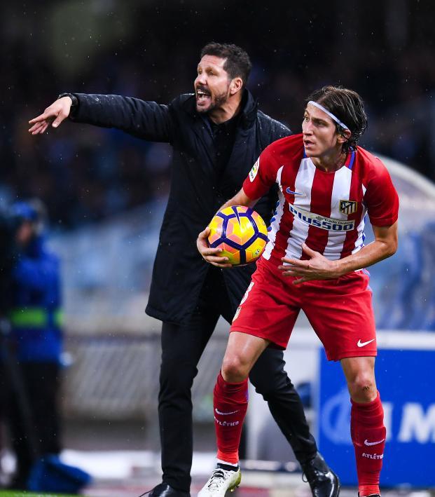 Filipe Luís and Diego Simeone