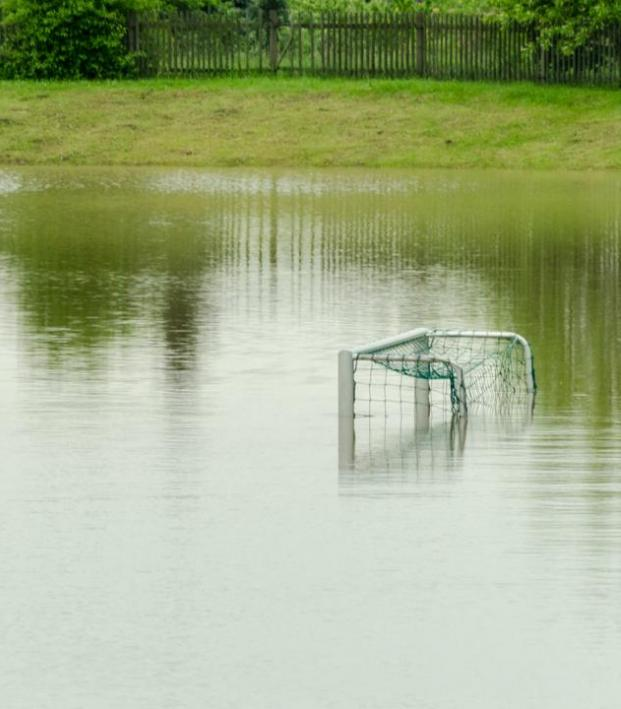 Stages of soccer practice - Flooded soccer field