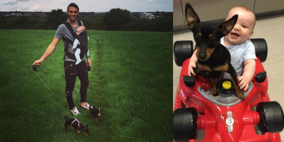 Andy Carroll with his pups and son
