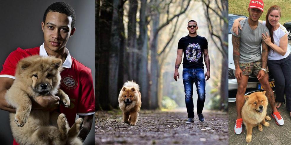 Memphis Depay with his dog Simba