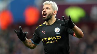 Sergio Aguero after scoring against Aston Villa