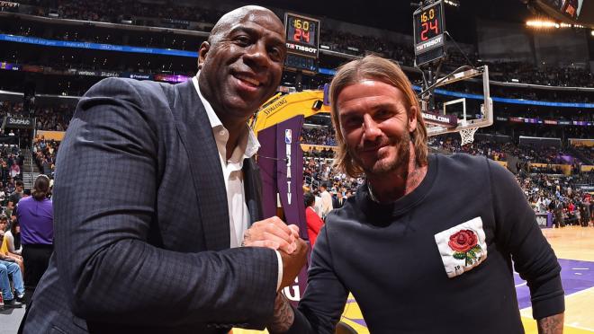 David Beckham Meets Magic Johnson