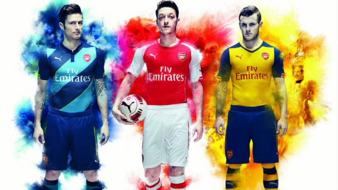 Arsenal's home, away and 3rd kit designs, by Puma