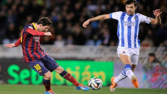 Messi shoots for Barcelona