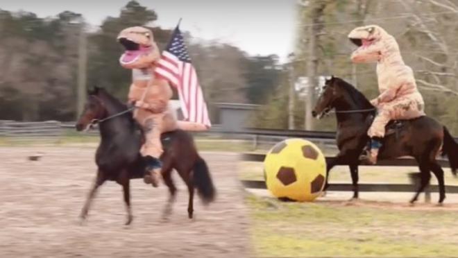 T-Rex riding horse kicking soccer ball