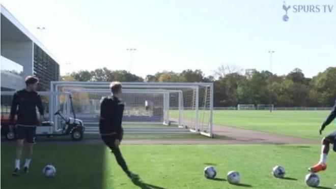 Tottenham players playing crossbar challenge