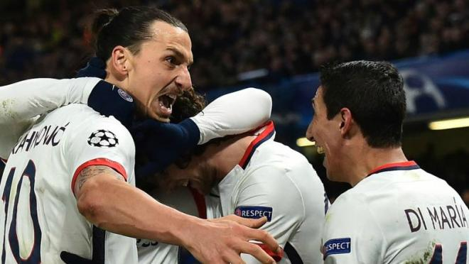 Zlatan Ibrahimovic celebrates his crucial away goal against Chelsea.