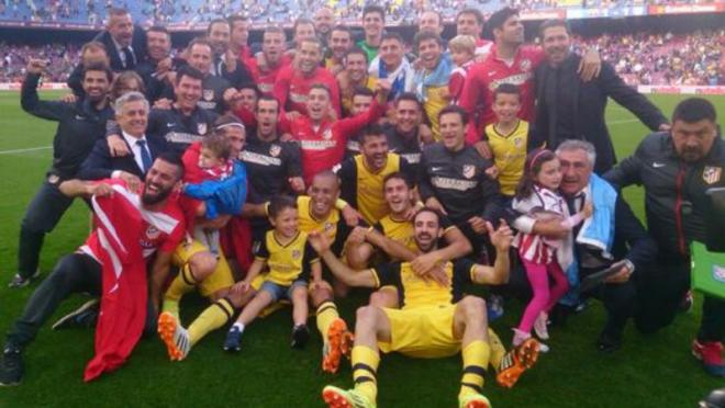 Atlético Madrid players celebrate their La Liga title