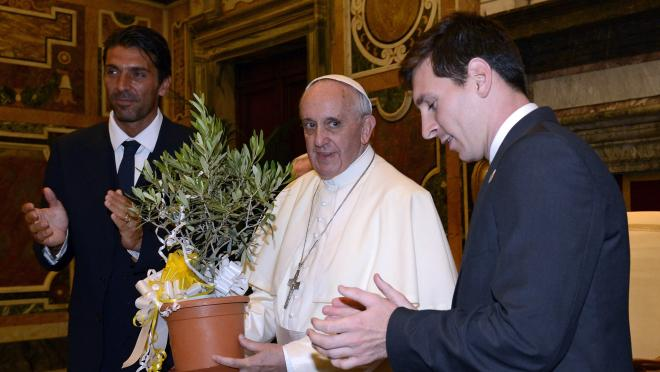 Pope Francis and Lionel Messi