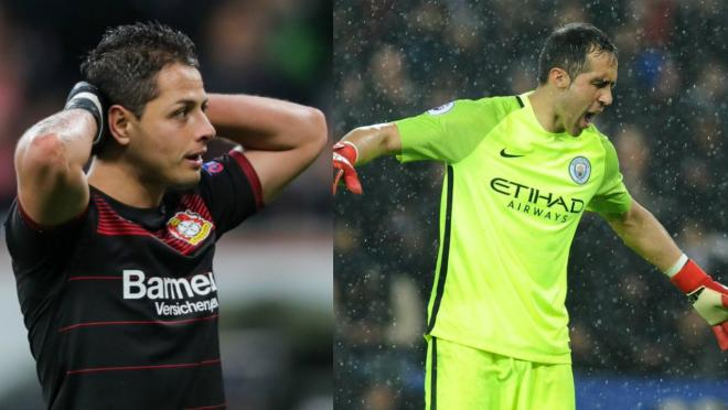 Chicharito and Claudio Bravo