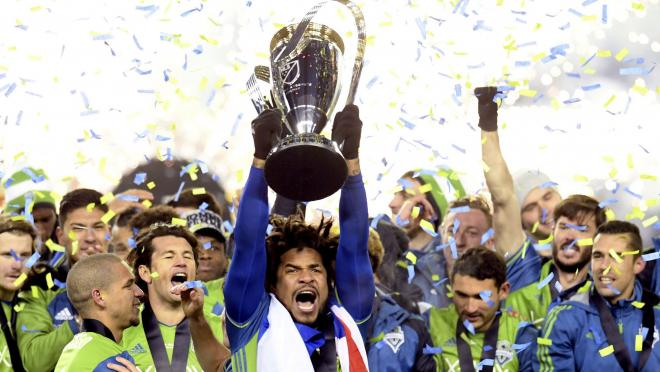 2016 MLS Cup Final Penalty Shootout, Seattle Sounders celebrate their victory over Toronto FC
