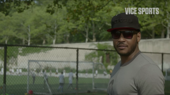 Carmelo Anthony Visits MLK High School Soccer Team in New York