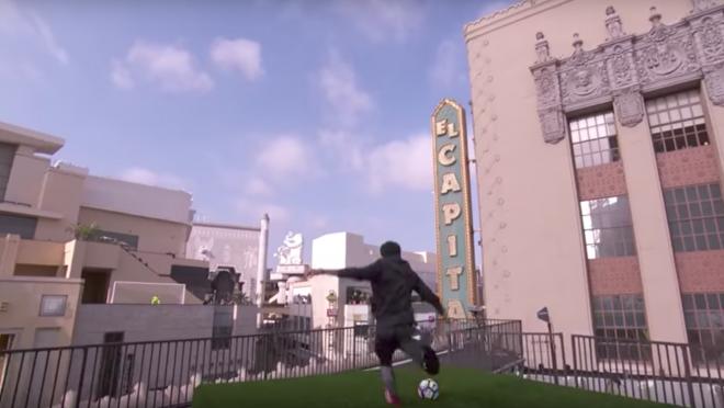 Neymar on Jimmy Kimmel Kicking Across Street