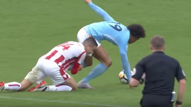 Sane Getting Dragged Down by his Shorts