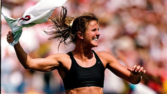 Brandi Chastain Scores Winning Goal In The 1999 Women's World Cup
