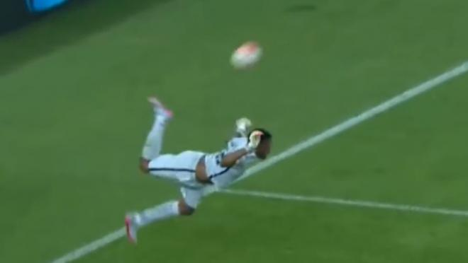 Goalkeeper scorpion kick