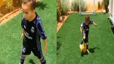 Mini Ronaldo Shows Off His Skills