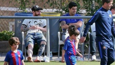 Thiago Messi And Benjamin Suarez Are Forming A Good Cop, Bad Cop Routine Like Their Fathers