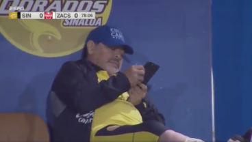 Diego Cam Catches Maradona Taking Phone Call During A Match