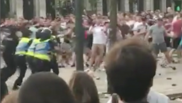 England Supporters Bull-Rushed By Riot Police Inside Nations League Fan Zone
