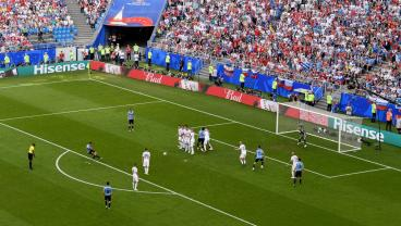 Luis Suarez's Nice Free Kick Was Greatly Aided By A Russian Battering Ram